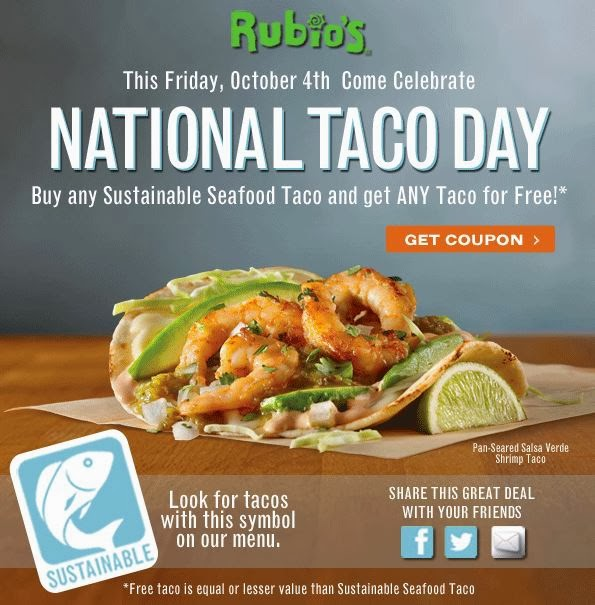 Happy National Hunting And Fishing Day: Rubio S Fish Taco Nutritional Value