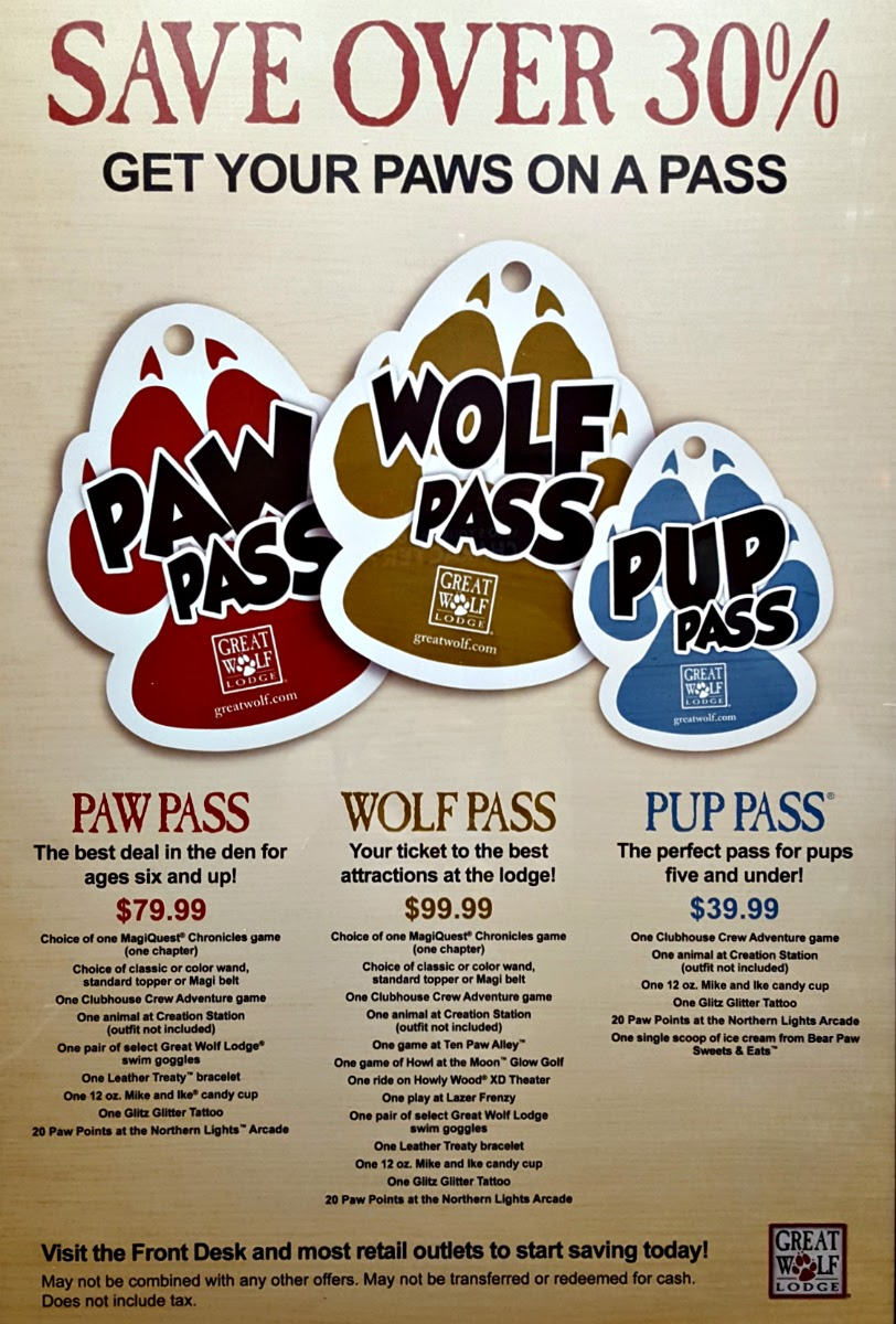 Day passes at Great Wolf Lodge are not available for purchase by non-guests. Registered guests may purchase additional water park day-pass wristbands for visitors for an additional fee. As of , this fee is $40 per wristband.