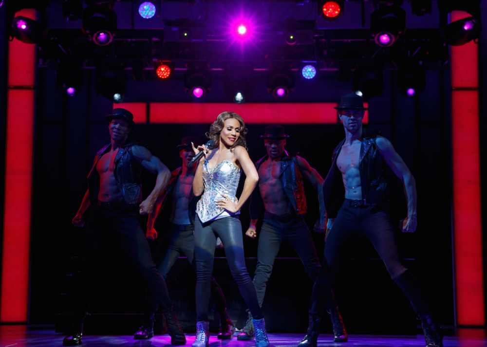 The Bodyguard -Deborah Cox as Rachel Marron, with Jaquez André Sims, Brendon Chan, Willie Dee and Benjamin Rivera in The Bodyguard- Photo by Joan Marcus