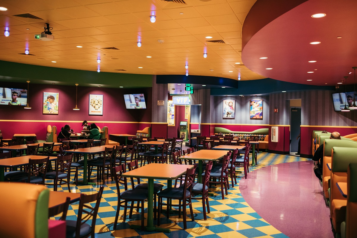 Toon Time Theatre Dining Room. Photo courtesy of John's Incredible Pizza Co.