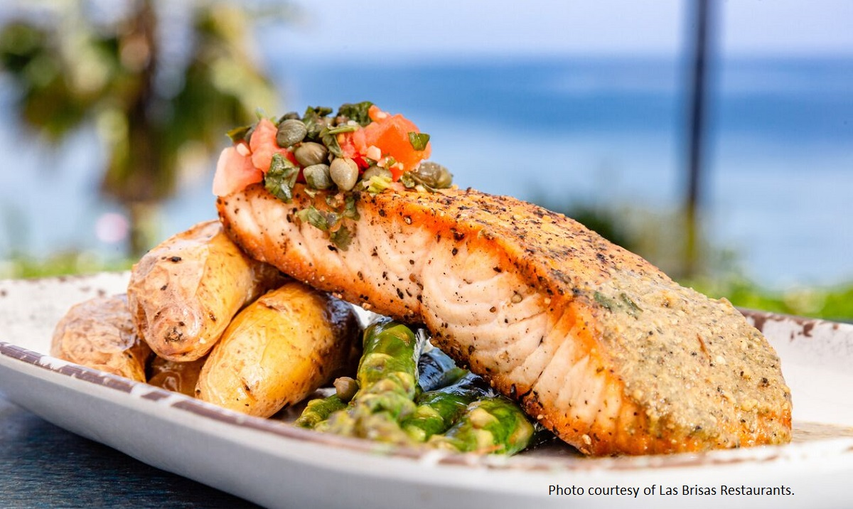 GRILLED SALMON - roasted tomatillo sauce, fingerling potatoes, charred asparagus