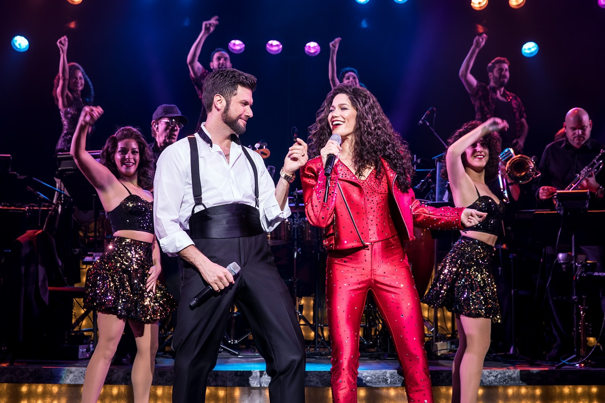 Mauricio Martinez as Emilio Estefan and Christie Prades as Gloria Estefan and Company, ON YOUR FEET! Photo Credit Matthew Murphy.