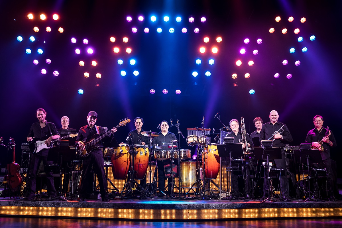 ON YOUR FEET! Band featuring members of the Miami Sound Machine Clay Ostwald, Jorge Casas, Edward Bonilla and Theodore Mulet. Photo Credit Matthew Murphy.