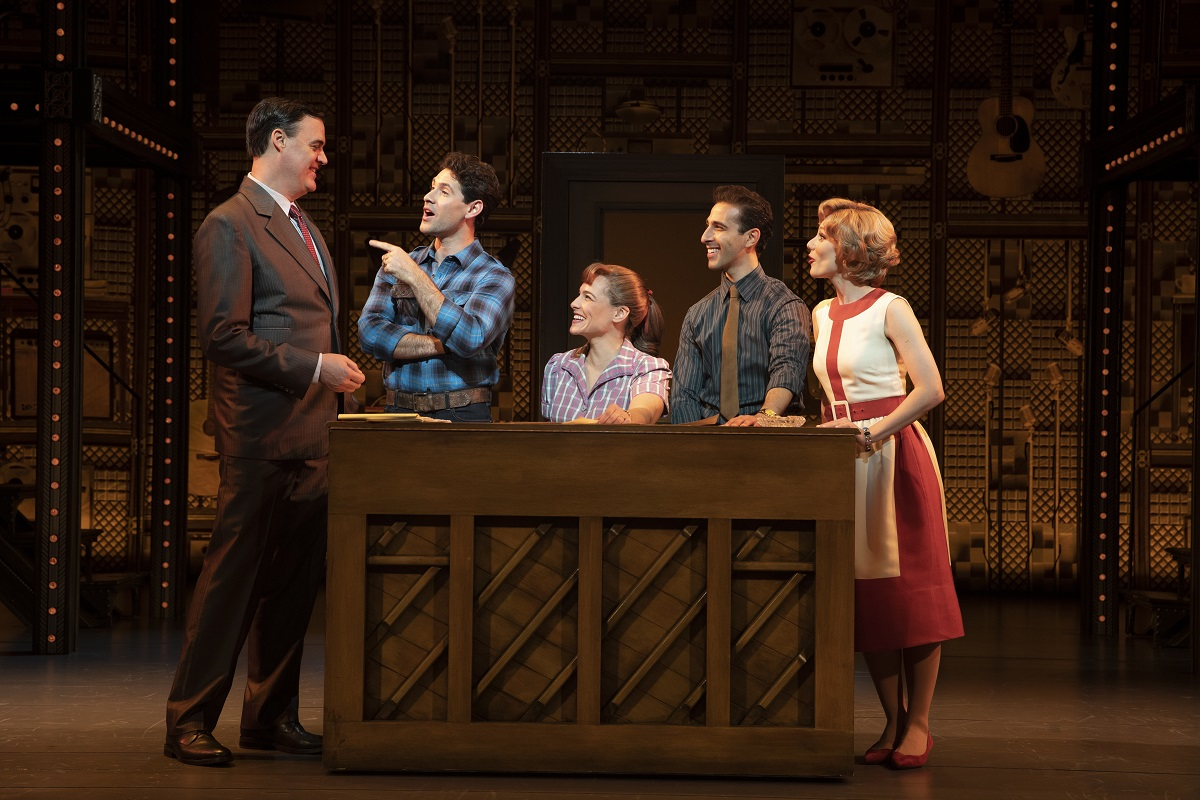 "Beautiful – The Carole King Musical - 1650 Broadway. (l to r) James Clow (""Don Kirshner""), Dylan S. Wallach (""Gerry Goffin""), Sarah Bockel (""Carole King""), Jacob Heimer (""Barry Mann"") and Alison Whitehurst (""Cynthia Weil"")"