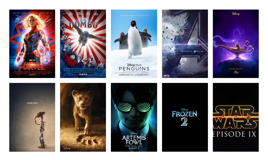 Walt Disney Studio Movie Slate 2019